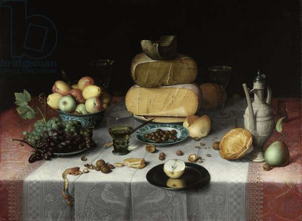 Still Life with Cheese, c.1615 (oil on panel)
