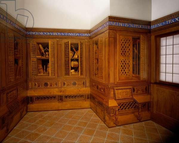 Studiolo from the Ducal Palace in Gubbio, c.1478-82 (walnut, beech, rosewood, oak & fruitwoods in walnut base)