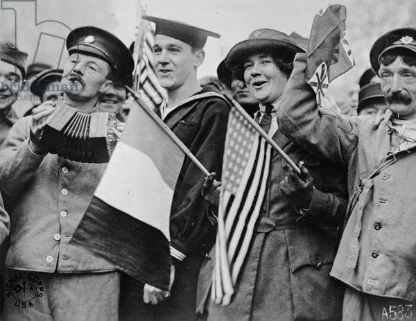 Armistice Day in Paris, 1918 (b/w photo)