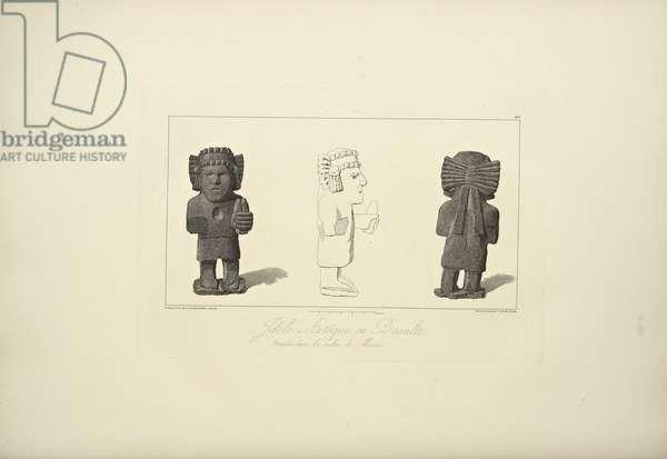 Aztec Idols in Basalt, illustration from 'Vues des Cordillères et Monumens des Peuples Indigènes de l'Amérique' by Alexander von Humboldt and Aime Bonpland, 1813 (engraving)