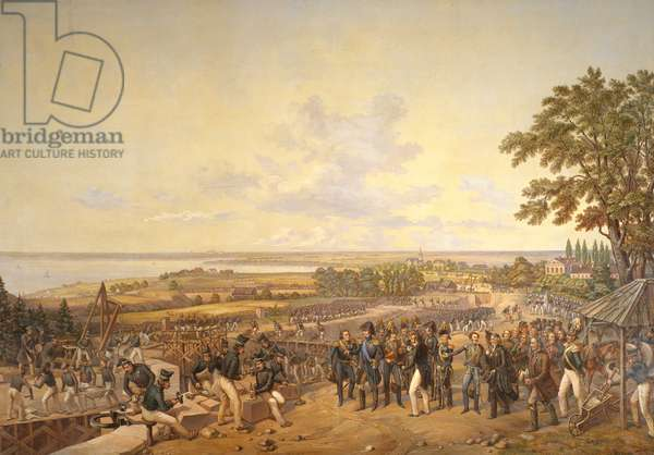 King Carl XIV Johan (1763-1844) of Sweden Visiting the Canal Locks at Berg in 1819, 1856 (oil on canvas)