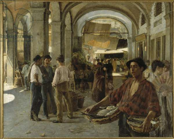 A Venetian Covered Market, 1887 (oil on canvas)