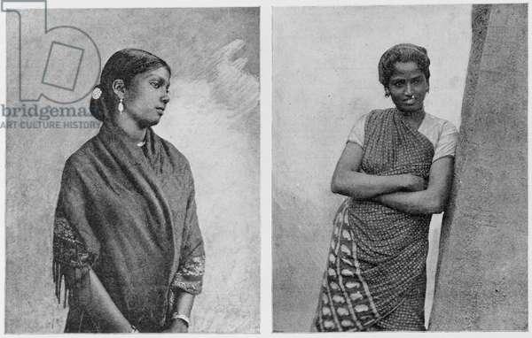 Types of Ceylon women, 1891 (b/w photo)