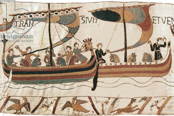 Duke William and the Norman invasion fleet cross the channel, Bayeux Tapestry (wool embroidery on linen)