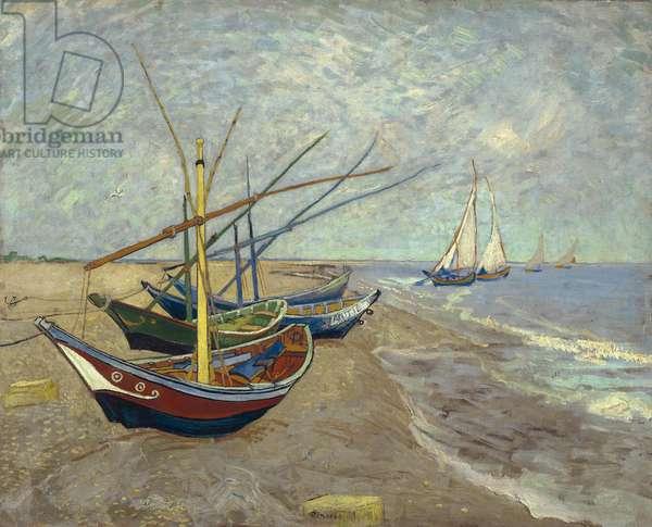 Fishing Boats on the Beach at Saintes-Maries-de-la-Mer, 1888 (oil on canvas)