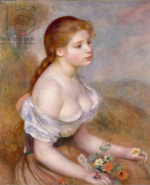 A Young Girl with Daisies, 1889 (oil on canvas)