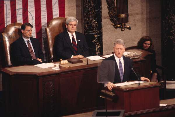 President Bill Clinton delivering the State of the Union Address, 1995 (colour photo)