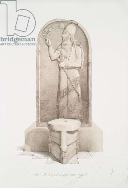 The king and sacrificial altar at Nimroud [Calah], 1853 (lithograph)