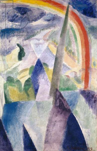 The Spire of Notre-Dame, 1909 (mixed media on canvas)