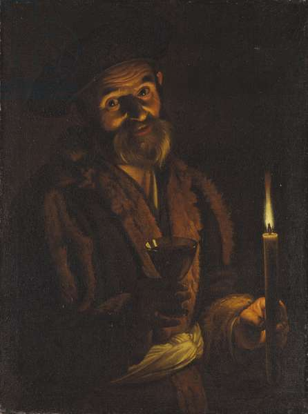 Old Man Holding a Candle and a Glass (oil on canvas)