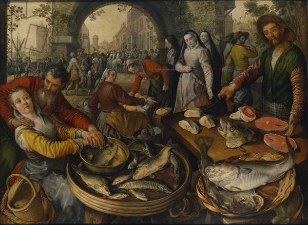 Fish Market with Ecce Homo, 1570 (oil on panel)