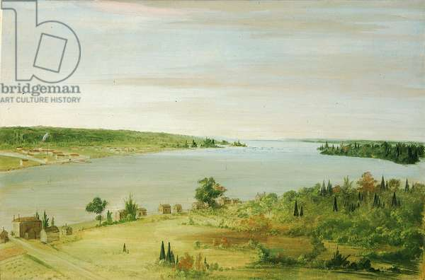 Sault Ste. Marie, Showing the United States Garrison in the Distance, 1836-37 (oil on canvas)