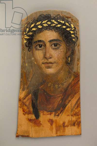 Portrait of a young woman in red, 90-120 AD (encaustic, limewood, gold leaf)