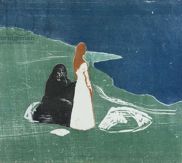 Two women on a beach, 1898 (colour woodcut)