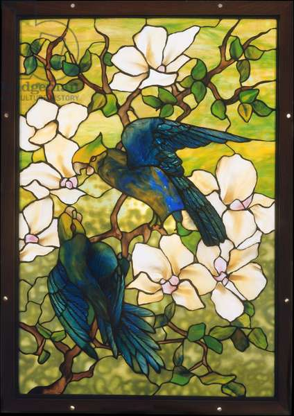 Hibiscus and Parrots, c.1910-20 (leaded fravile glass)