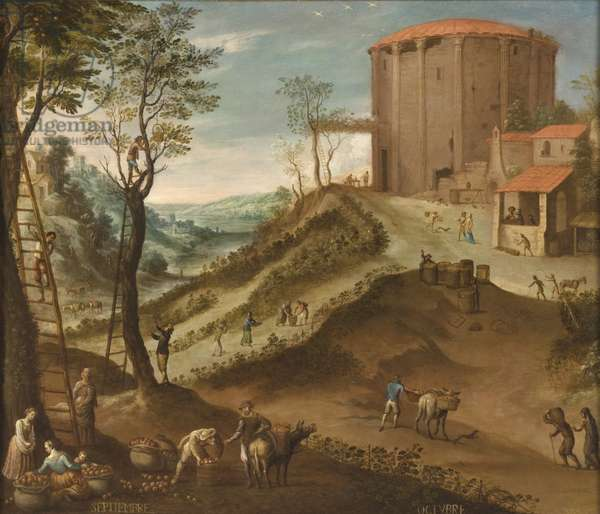 September and October from Los doce meses del año (The Twelve Months of the Year), 1650-99 (oil on canvas)