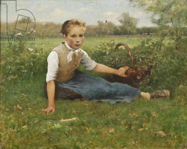 Picking Flowers, 1882 (oil on panel)