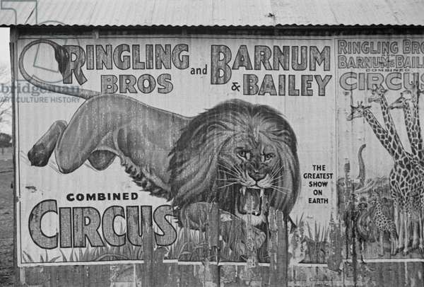 Circus poster covering a building in Alabama, 1936 (b/w photo)