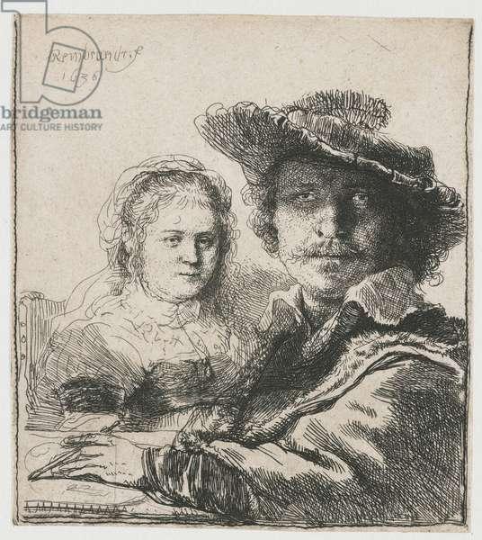 Self Portrait with Saskia, 1636 (etching)