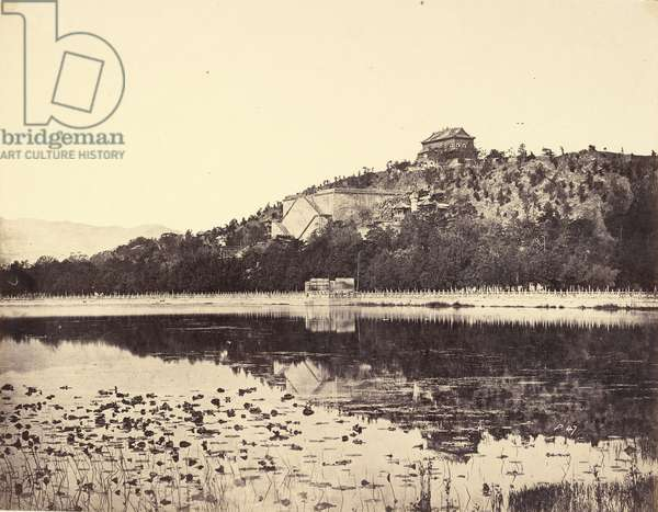View of the Imperial Summer Palace, Yuen-Ming-Yuen, after the Burning, Taken from the Lake, Peking, 18th October, 1860 (albumen print)