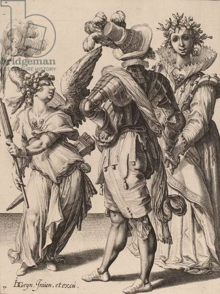 A Blindfolded Cupid Holding a Torch Before a Couple, attributed to Zacharias Dolendo, 1595-6 (engraving on laid paper)