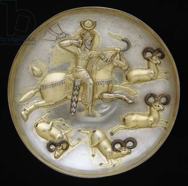 Plate with king hunting rams, c.500 A.D. (silver, mercury gilding, niello inlay)