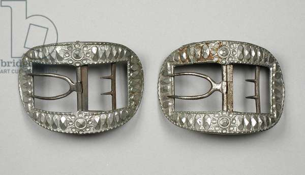 Shoe Buckles, c.1780 (pewter and steel)