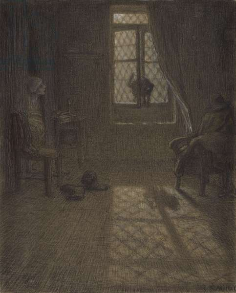 """Le chat"" or The Cat at the Window, 1857-58 (conté crayon and pastel with stumping and blending, fixed on wove paper)"