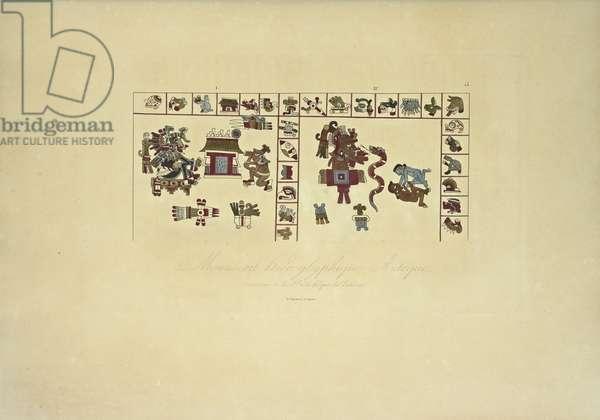 Aztec Hieroglyphic Manuscript Conserved at the Vatican Library, illustration from 'Vues des Cordillères et Monumens des Peuples Indigènes de l'Amérique' by Alexander von Humboldt and Aime Bonpland, 1813 (hand-coloured engraving)