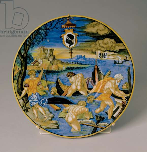 Plate with the Sinking of the Fleet of Seleucus, 1532 (maiolica)