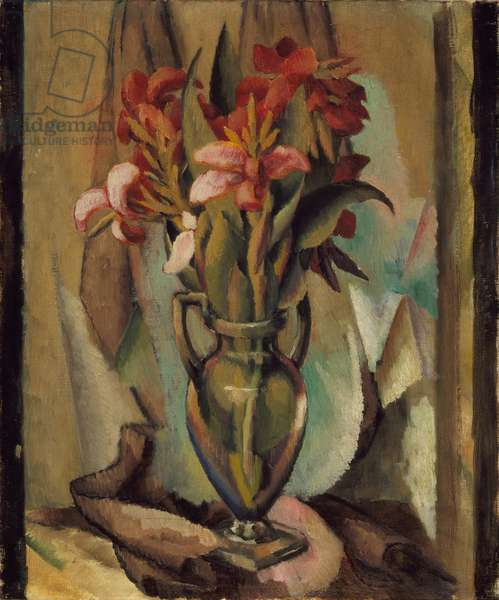 Flowers in a Handled Vase, 1919-22 (oil on canvas)