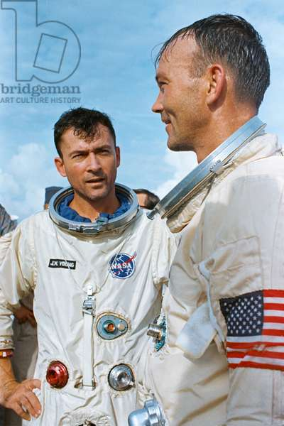 The crew of the Gemini-10 spaceflight, astronaut John W. Young (left), command pilot, and Michael Collins, pilot, aboard the recovery ship USS Guadalcanal, 21st July 1966 (photo)