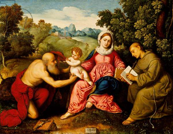 Madonna and child with Saints Jerome and Francis, c.1525 (oil on panel)