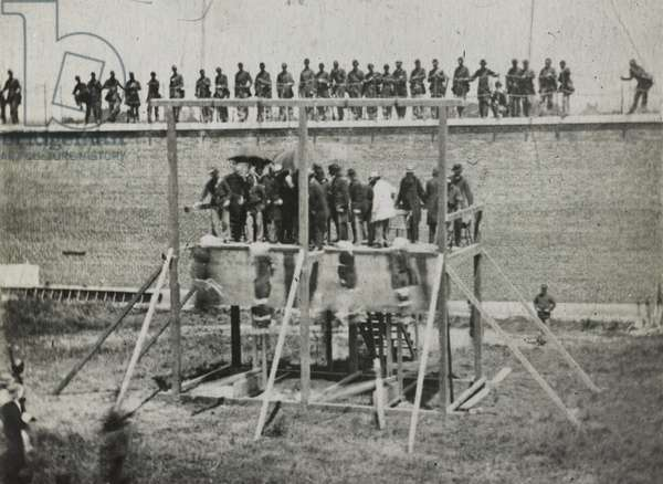 Execution of the Lincoln conspirators, 1865 (gelatin silver print)
