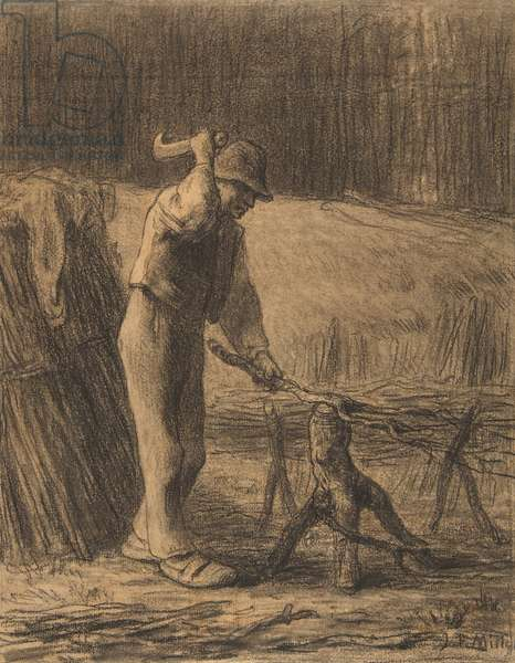 Woodcutter Trimming Faggots, 1853-54 (conté crayon with stumping on beige laid paper)