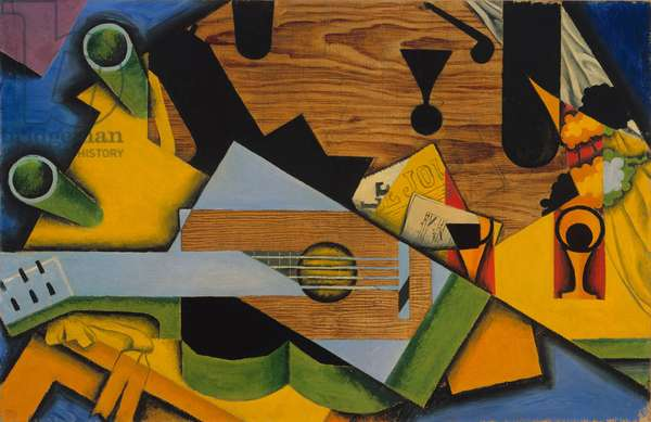 Still Life with a Guitar, 1913 (oil on canvas)