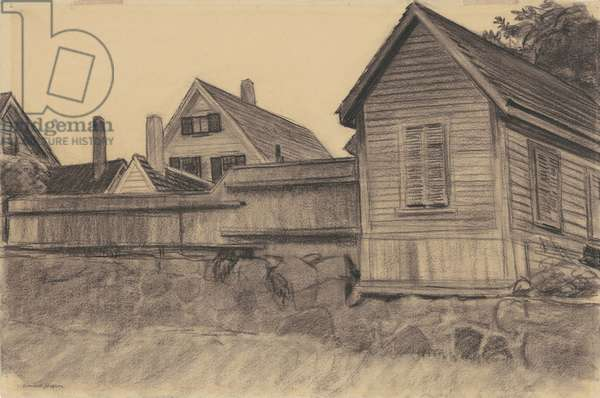 Houses, Gloucester, c.1923 (charcoal on wove paper)