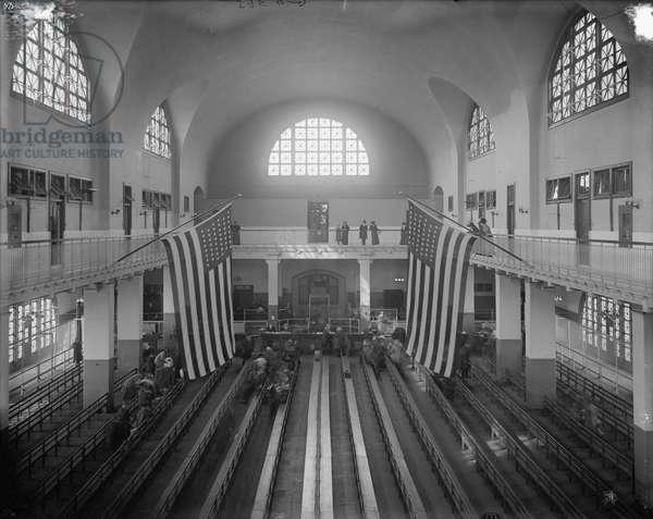 Inspection Room, Ellis Island, New York City,  c.1910 (b/w photo)