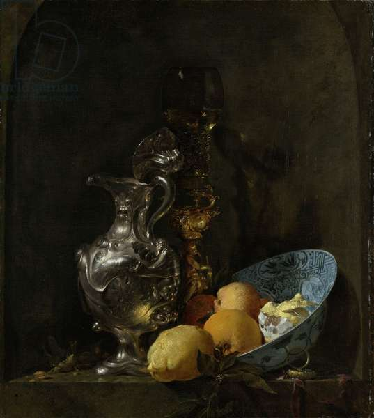Still life with silver ewer, 1655-60 (oil on canvas)