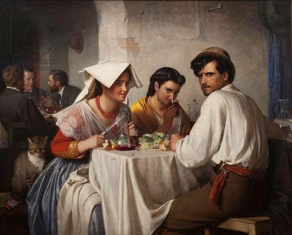 In a Roman Osteria, 1866 (oil on canvas)