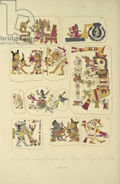 Hieroglyphic Paintings from the Borgia Museum, Veletri, illustration from 'Vues des Cordillères et Monumens des Peuples Indigènes de l'Amérique' by Alexander von Humboldt and Aime Bonpland, 1813 (hand-coloured engraving)
