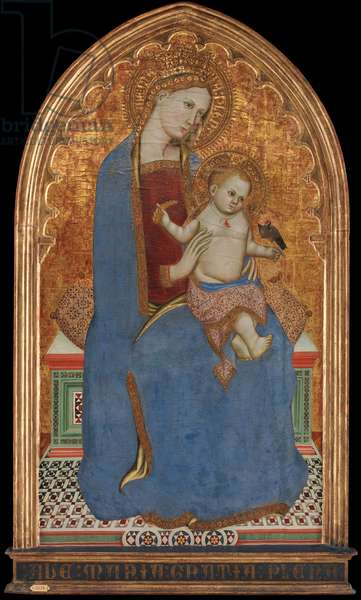 Virgin and Child Playing with a Goldfinch and Holding a Sheaf of Millet, 1379 (tempera on panel)