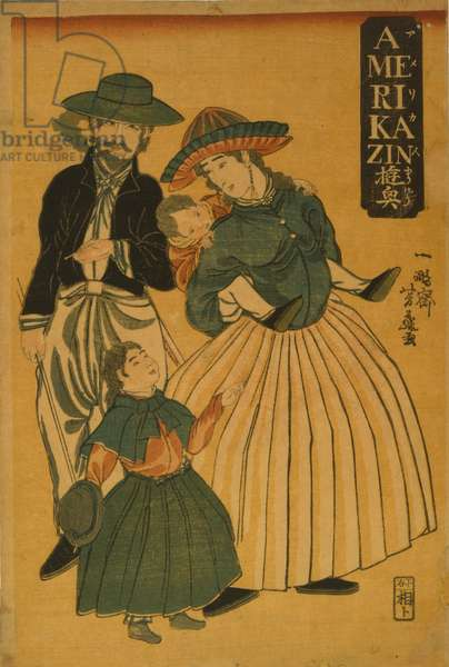 An American family out for a stroll at Yokohama, 1861 (woodblock print)