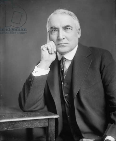 Warren G. Harding (1865-1923), 29th President of the United States, serving from 1921 to 1923, c. 1920 (b/w photo)