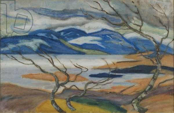 Torne Marsh in Spring (gouache on paper)