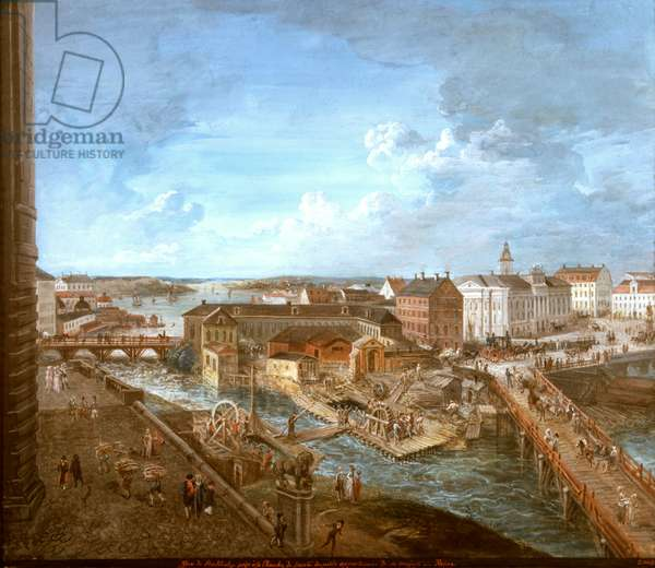 View of Stockholm from the Royal Palace (gouache on canvas)