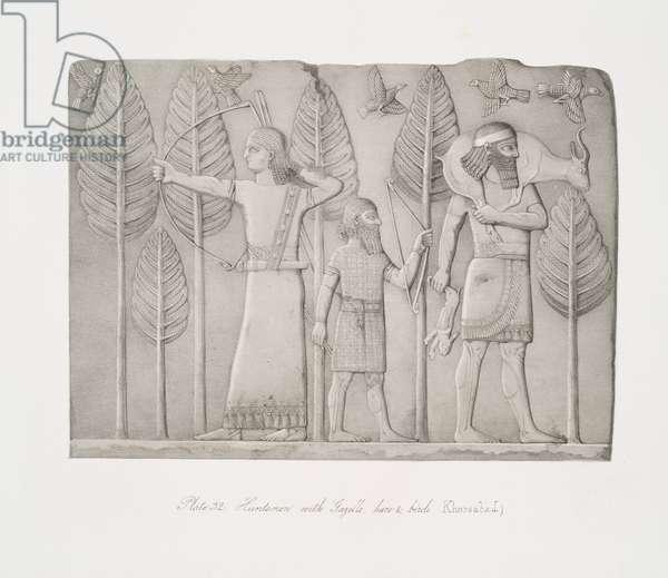 Huntsmen with gazelle, hare and birds (Khorsabad), 1853 (lithograph)