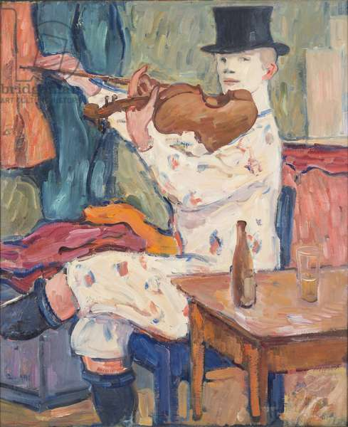 A Clown Playing the Violin, 1915 (oil on canvas)