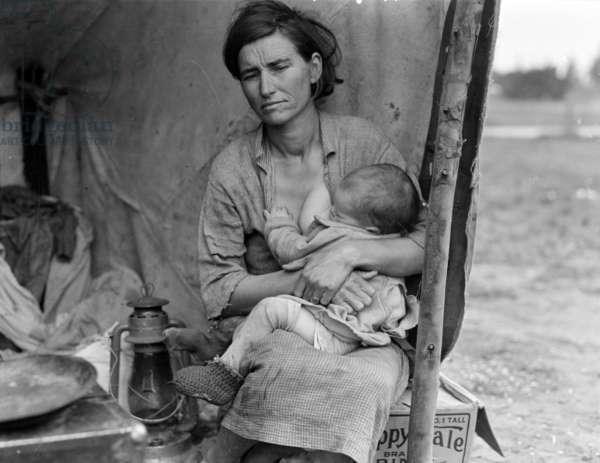 Migrant farm worker's family in Nipomo California, 1936 (b/w photo)