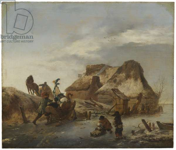 A Nobleman's Sleigh on the Ice, c.1646 (oil on oak)
